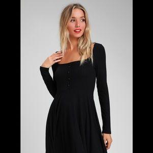 Lulus ALONDRA BLACK LONG SLEEVE SKATER DRESS